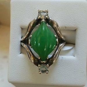 Carolyn Pollack Sterling Green Jade Ring 6 NWT